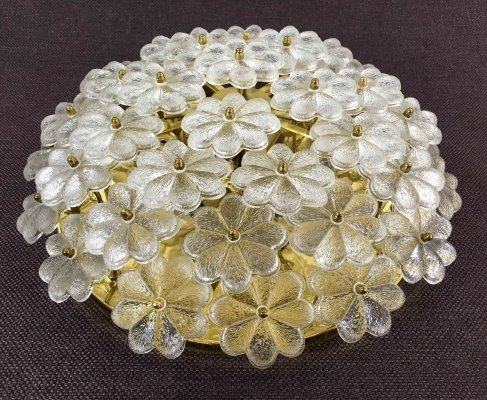 Mid Century Glassflower Lamp / Applique by Ernst Palme, 1960s