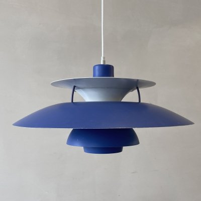 PH5 hanging lamp in blue by Poul Henningsen for Louis Poulsen, Denmark 1960s