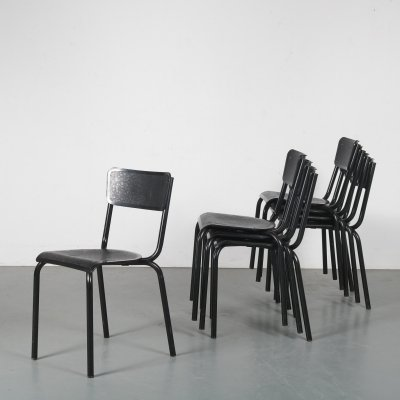 Set of 8 stacking chairs by Pierre Guariche for Meurop, Belgium 1960s