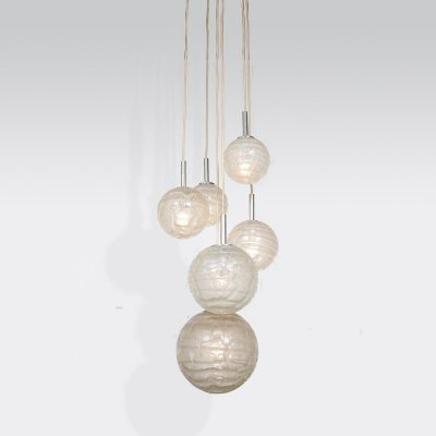 1960s Glass balls hanging lamp by Doria Leuchten, Germany