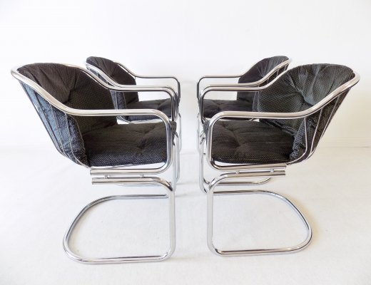 Gastone Rinaldi set of 4 chrome wired dining chairs, 1970s