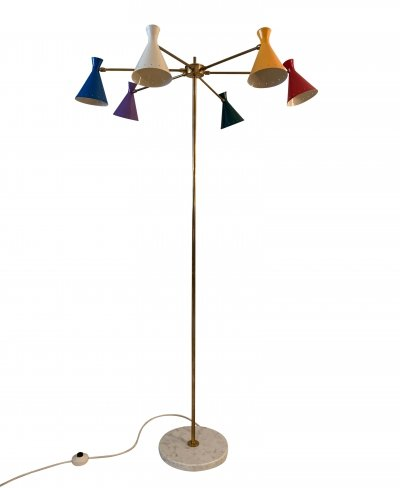 Multi coloured floor lamp, Italy 1950s