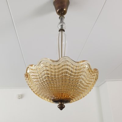Art deco crystal glass & brass chandelier by Carl Fagerlund for Orrefors