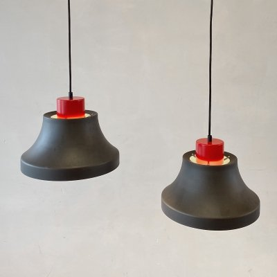 Set of 2 Askepot hanging lamps by Jo Hammerborg for Fog & Morup, Denmark 1970s