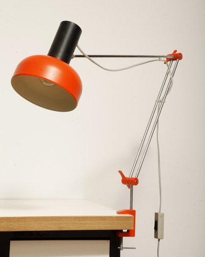 Orange & Black Adjustable Napako table lamp by J. Hurka, Czechoslovakia 1960s