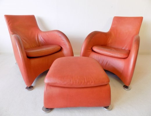 Montis Loge set of 2 leather lounge chairs with ottoman by Gerard van den Berg