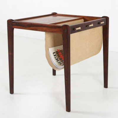 Rosewood magazine holder with linen fabric