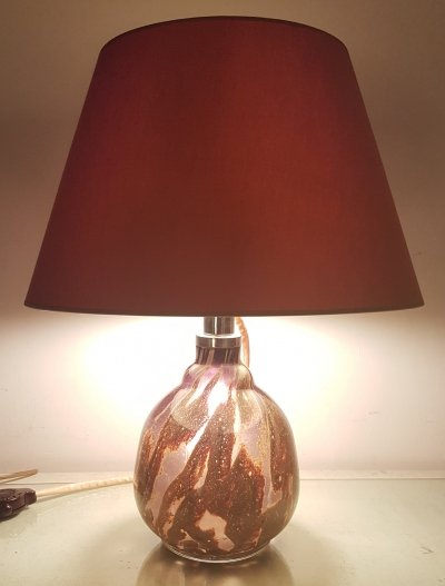 Rare 1930s Ikora table lamp in purple & ochre with original shade by WMF