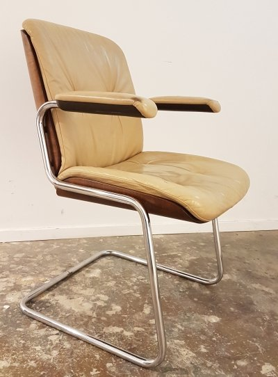 Stylish & comfortable wood & leather office chair by Martin Stoll for Giroflex