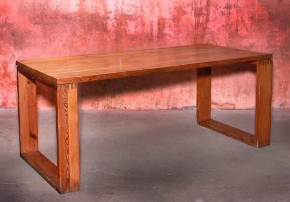 Rare Vintage Pine Wood Dining Table by Ate van Apeldoorn for Houtwerk Hattem, 1970s