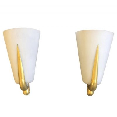 Set of Two Mid-Century Modern Brass & Glass Wall Sconces, 1950