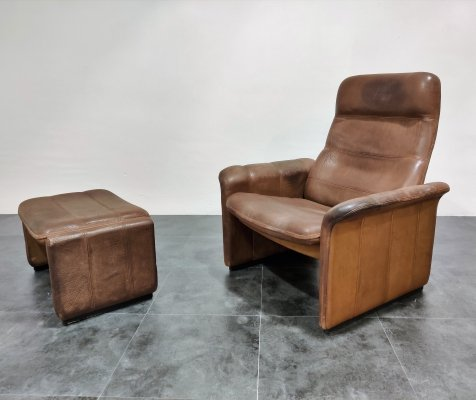Vintage DS 50 leather lounge chair & ottoman by De Sede, 1970