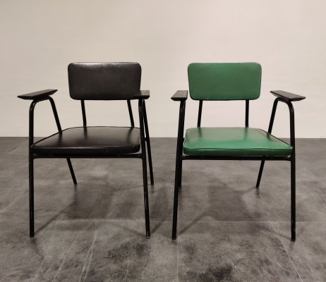 Pair of vintage industrial armchairs by Pierre Guariche for Meurop, 1950s