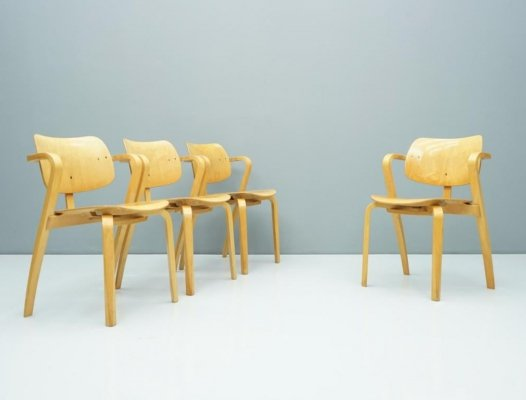 Set of 4 Ilmari Tapovaara Aslak Chairs by Asko, Finland 1960s