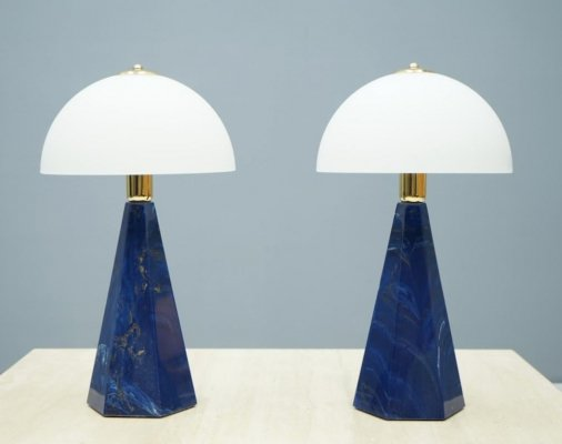 Pair of Blue Marble Table Lamps with Glass Shades, Italy