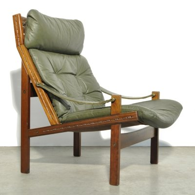Vintage easy Hunter safari chair by Torbjørn Afdal for Bruksbo Norway, 1960s