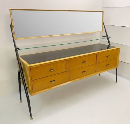 Silvio Cavatorta mirror ash sideboard/chest of drawers, Italy 1958