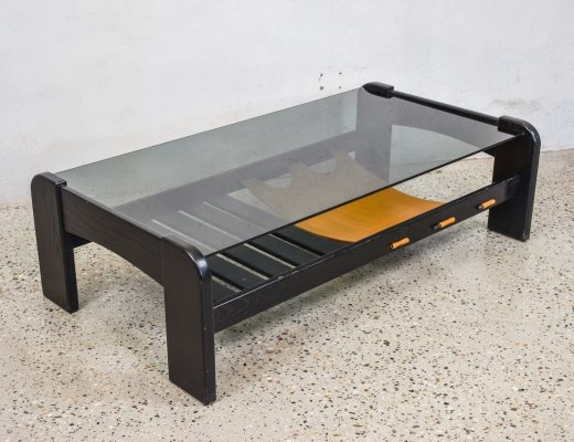 Black & Leather Coffee Table, 1970s