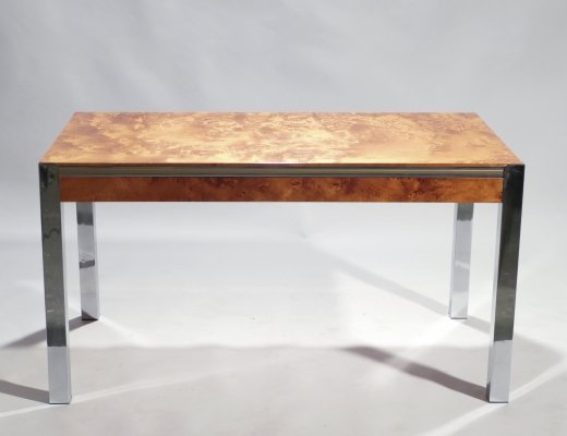 Willy Rizzo burl, chrome & brass dining table, 1970's