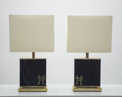 Pair of large Mid-century J.C. Mahey black lacquer & brass table lamps, 1970s