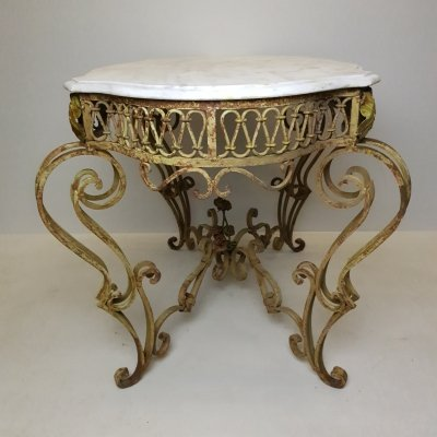 French painted wrought iron & marble table, 1920s