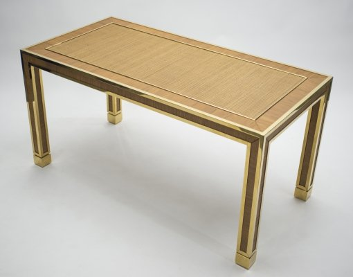 Mid-century brass & bamboo dining table, 1970s