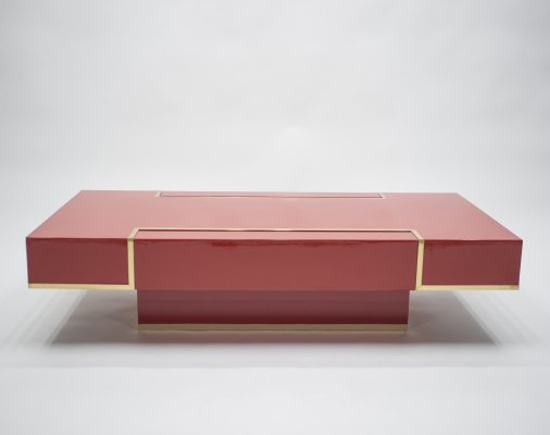 Rare J.C. Mahey red lacquer & brass coffee table, 1970s