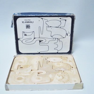 Puzzle 16 Animali Game Puzzle by Enzo Mari for Danese, 1970s