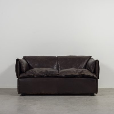 Modern brown leather two seats sofa by Eilersen