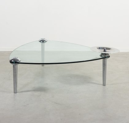 Hannes Wettstein glass coffee table produced by Baleri Italia
