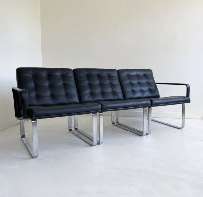 Mid Century Black Leather Modular Sofa by Gjerløv-Knudsen & Lind for Cado, c.1960