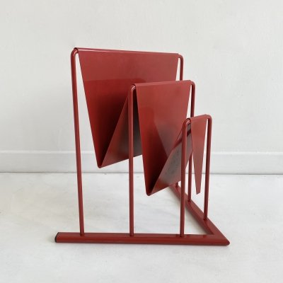 Postmodern Red Metal Magazine Rack, Germany c.1980