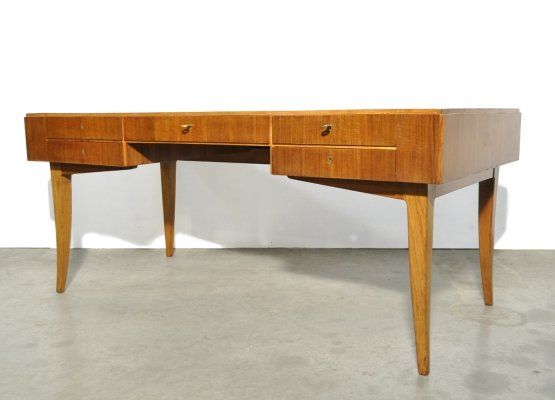 Large teak management desk with leather inlay, 50s-60s
