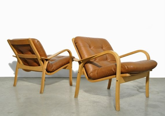 Vintage Lamino easy armchairs by Yngve Ekström for Swedese, Sweden 1970s