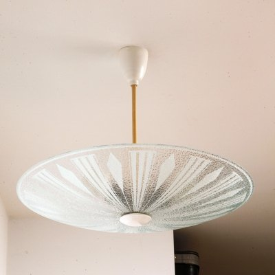 White & Grey Glass Ceiling Lamp, Czechoslovakia 1970s
