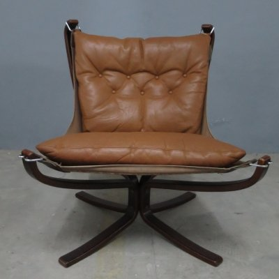 Brown leather Falcon chair by Sigurd Ressell for Vatne Møbler, 1970s