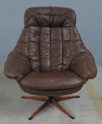 Hazelnut brown leather 'Silhouette' lounge chair by Henry W. Klein for Bramin, 1960s