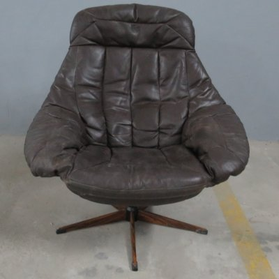 Dark brown leather 'Silhouette' lounge chair by Henry W. Klein for Bramin, 1960s