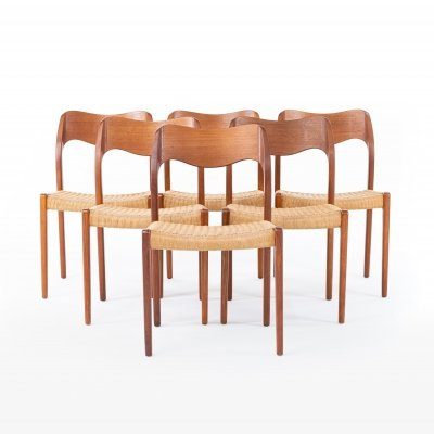 Set of 6 Model 71 dining chairs by Niels Otto Møller for JL Møllers Møbelfabrik, 1960s