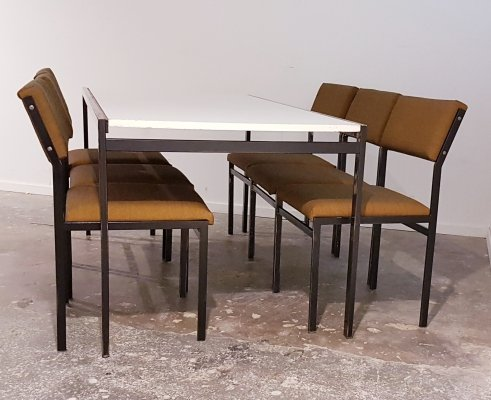 Cees Braakman for Pastoe 6 dining chairs SM 07 & extendable TU 31 dining table, 1960s