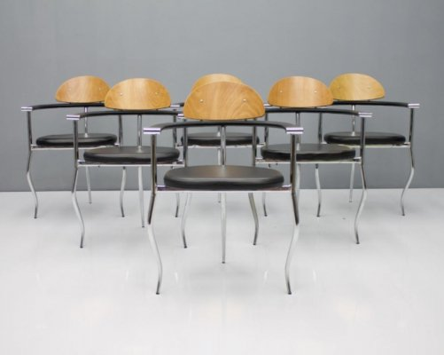 Set of 6 Dining Chairs by Arrben Italy, 1970s