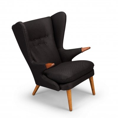Brown accent Model 91 'Papa Bear' Wingback Chair by Svend Skipper, 1950s