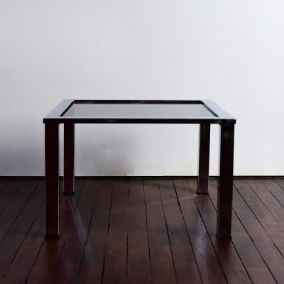 Milo Baughman coffee table in polished chrome & grey smoked glass, 1970s