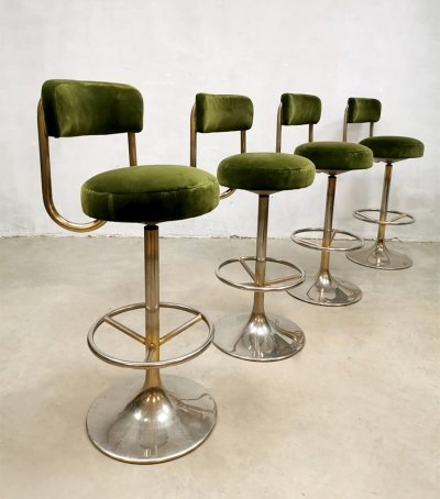 Set of 4 vintage Swedish design barstools by Borje Johanson