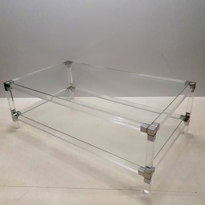 Lucite, gilt & chromed metal 2-tiers coffee table, 1970s