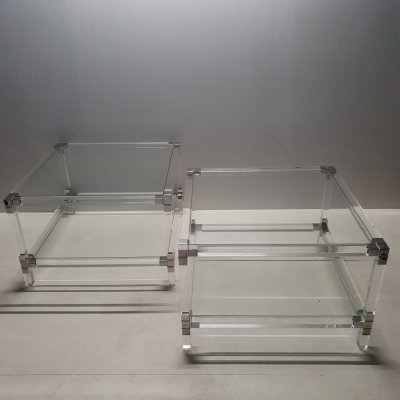 Pair of lucite, gilt & chromed metal 2-tiers site tables, 1970s