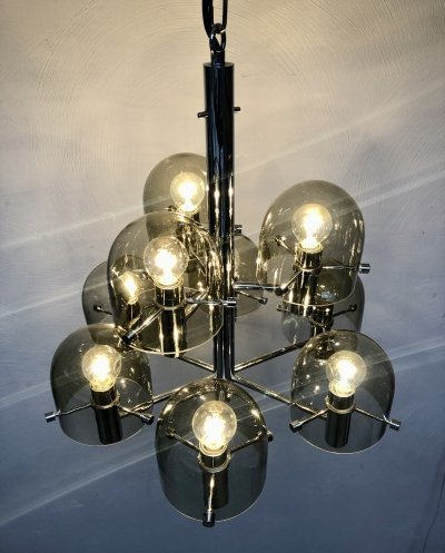Chandelier with nine handblown glass domes, 1970s