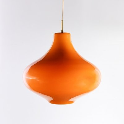 Cipolla hanging lamp in orange Murano glass by Massimo Vignelli, 1960s