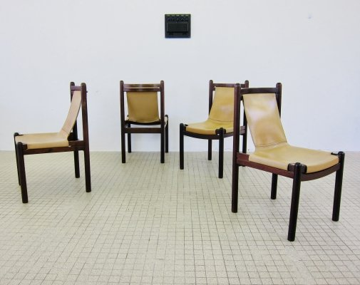 Set of 4 cognac leather 'sling' chairs, 1970s
