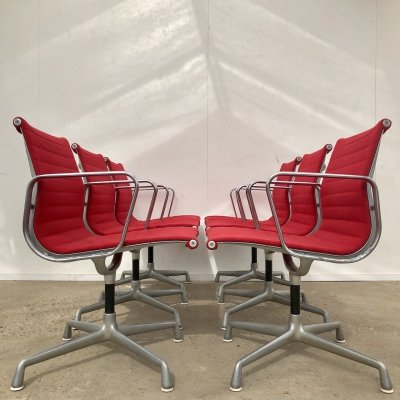 Set of 6 'EA107' Herman Miller chairs by Charles & Ray Eames, 1960s
